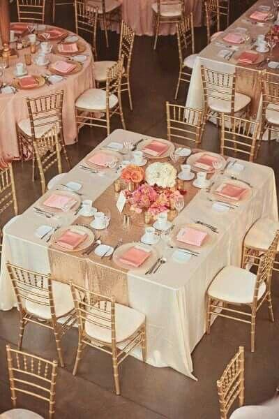 Mesas rosa dorado salmon