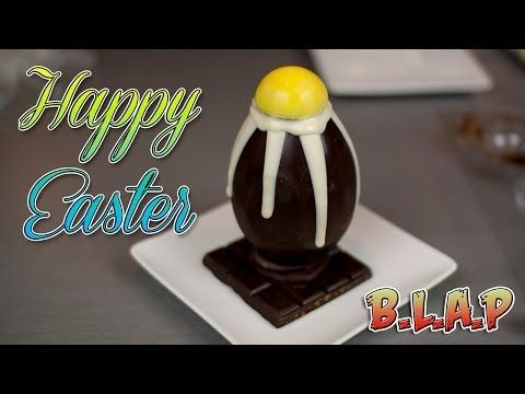 Dark Chocolate Easter Egg Demonstration - Happy Easter !  I'm using dark chocolate in this recipe for the main large Easter egg, I also use Wilton yellow candy melts for the yellow yolk of the egg, and I use white chocolate that is supposed to be the inside Cadbury creme oozing out.  The dark chocolate bar is home made, it is made of dark chocolate, crunchy toffee bits ( Skor bar bits ) and also sea salt.