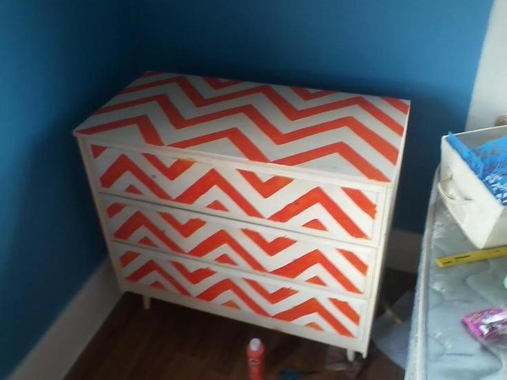 I painted my dresser chevron!! :) <3 #orange #chevron #furniture #paint