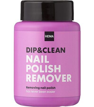 Dip & clean nagellakremover. Het verwijderen van nagellak is nog nooit zo eenvoudig geweest: draai de vinger rond in het potje met de geïmpregneerde spons en de lak is verdwenen