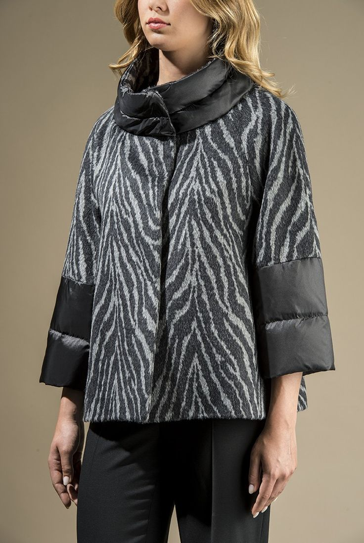 Giaccone in tessuto jacquard di lana e alpaca fantasia