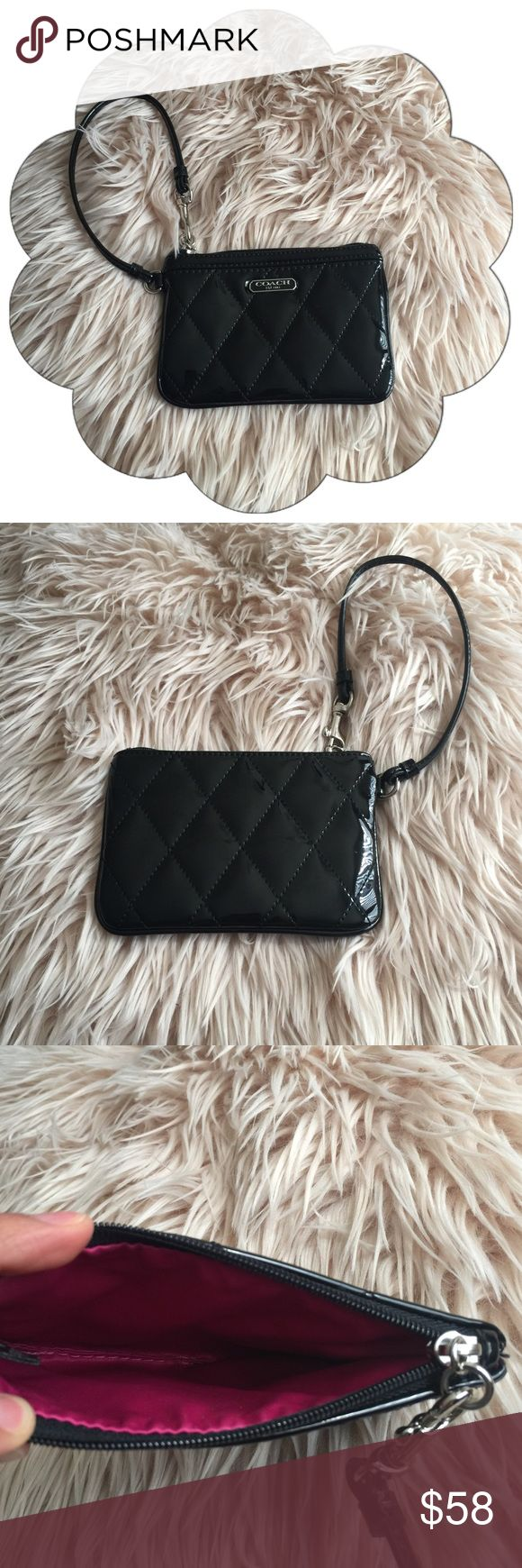 LOWEST Like new Coach Poppy Black Quilted Wristlet 100% Authentic Coach : Patent Leather : Fits cards cash lipgloss and keys : Like new Coach Bags Clutches & Wristlets