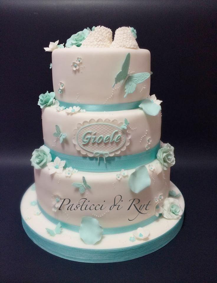 torta battesimo scarpine e farfalle