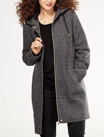 Manteau long à capuche                                          noir Femme  - Kiabi