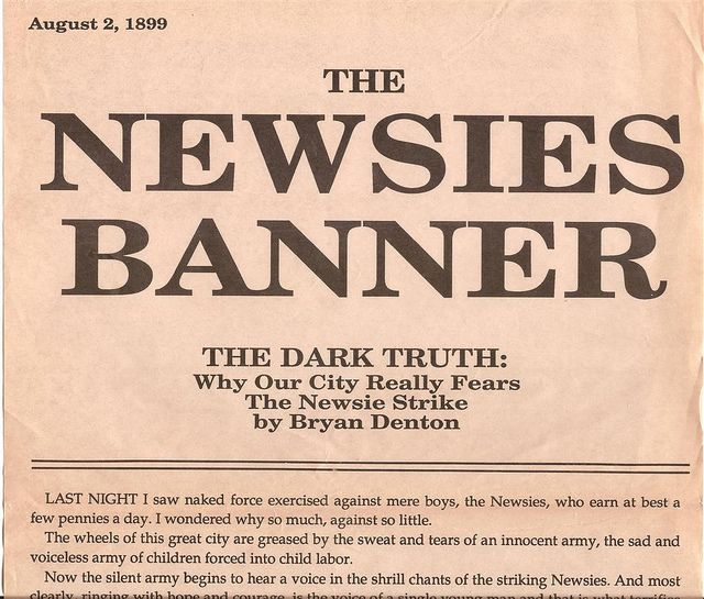 Scanned copy of The Newsies Banner from the Disney Movie Newsies, by WraithTDK, via Flickr