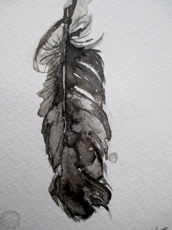 handmade original india ink painting of a feather (by kate transue via etsy)