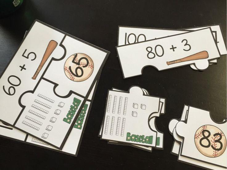 Baseball math puzzles and other baseball math centers! So fun!