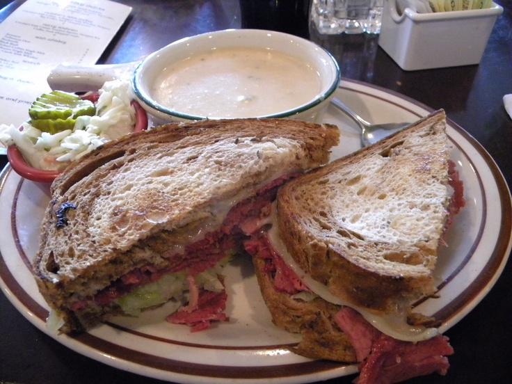 Reuben sandwich and potato soup at Nana's Irish Pub in Newport, OR.  #food #sandwich