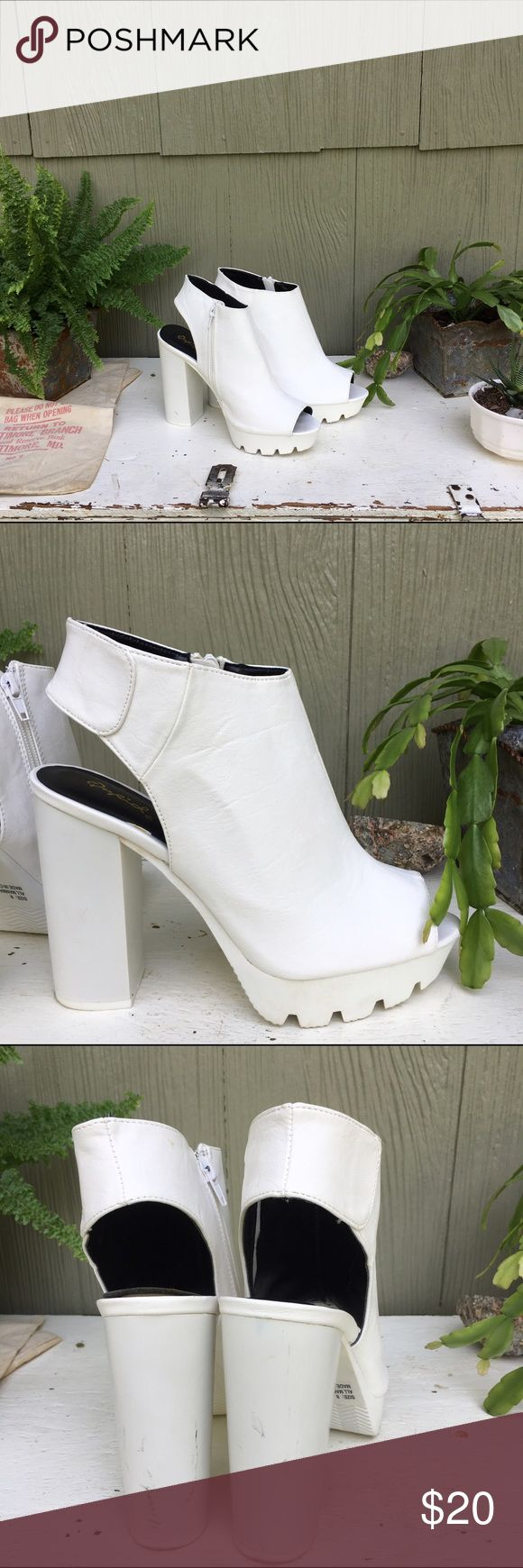 Platform Mules Platform Mules!! Only worn twice, slight scuffing from tripping over curbs (I'm clumsy) size 8! Shoes Mules & Clogs