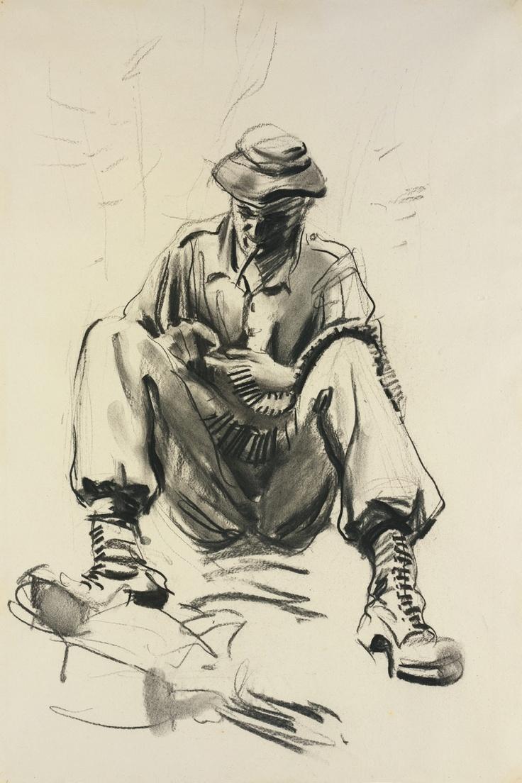 McFadyen, Ken 'Digger cleaning M60 rounds, B Company, 2 Battalion Royal Australian Regiment'  #kenmcfayden #vietnamoncanvas #sandrafingerlee #vietnamwar #warart #battalion #charcoal #sketch #art