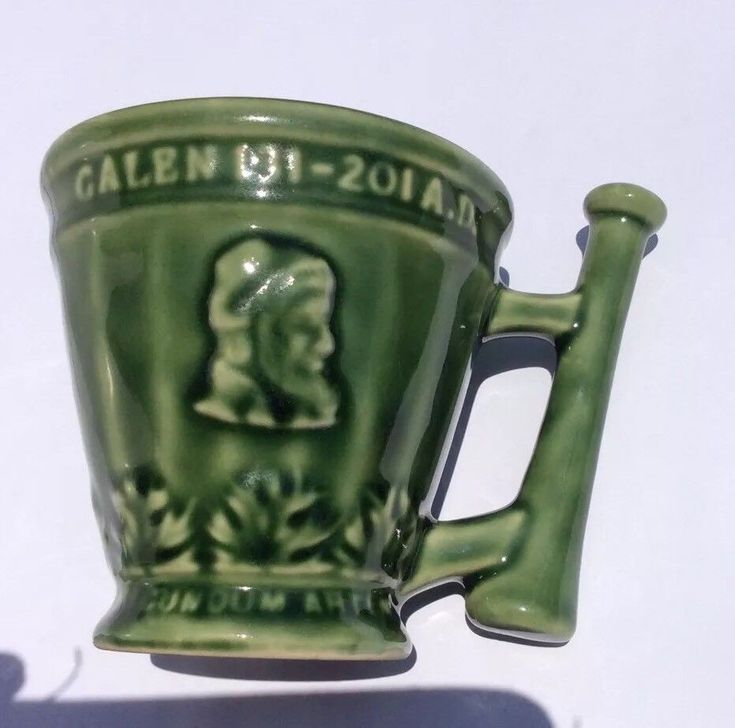 Schering Mortar/Pestle  Mug Galen 131-201AD Coffee Cup Green Medical Collectible  | eBay