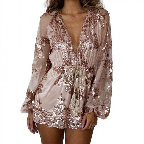 55.00$  Buy here - http://vijak.justgood.pw/vig/item.php?t=fqclvq26667 - Brand New Asutralia Stock Sequin Rosegold Pink Playsuit Party Romper