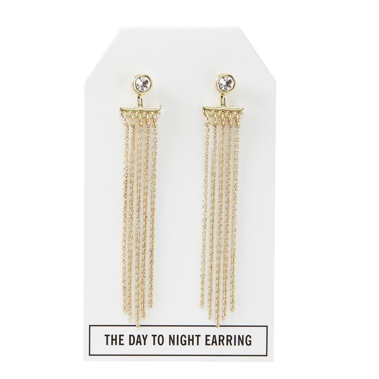 Crystal Day to Night Earring in Gold - available in gold, silver, and gunmetal. $28. #goldearrings #goldjewelry #convertiblejewelry #fancyearrings #daytonight #daytonightearrings #jewelrygift
