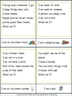 Expand vocabulary and practice inferring with this set of 24 summer riddle cards and illustrated answer cards, plus a bingo game to reinforce the same words.   $