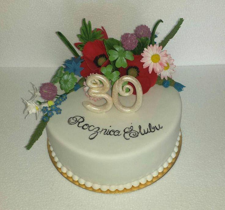 Tort weselny polne kwiaty, tort maki/ Wild flowers cake, poppy wedding cake
