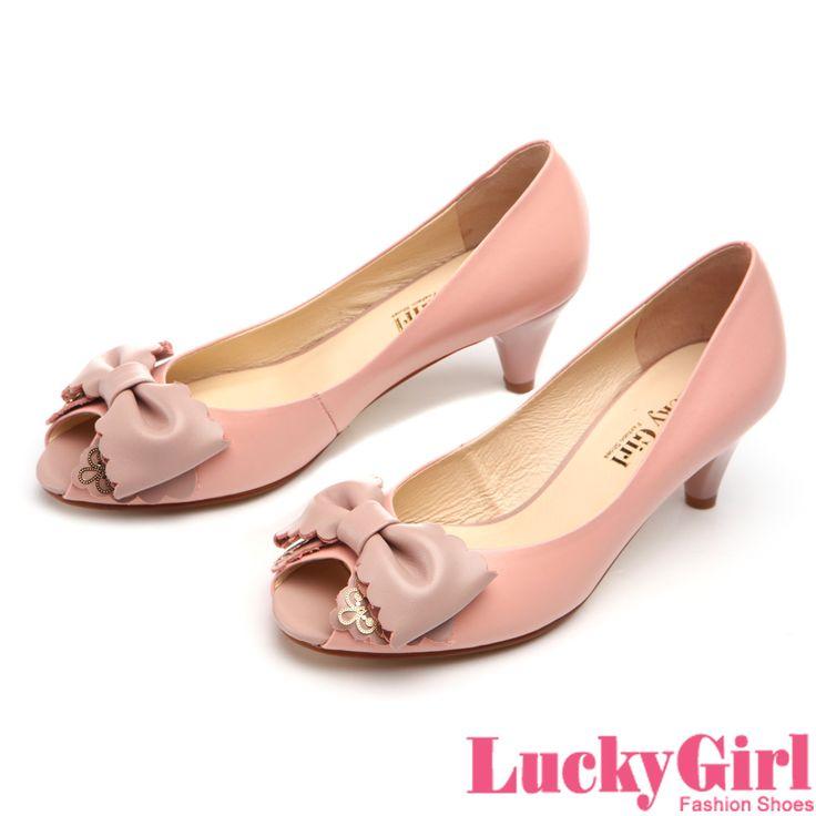 LuckyGirl-優雅身段~波浪剪裁蝴蝶結魚口跟鞋-粉橘 - Yahoo!奇摩購物中心