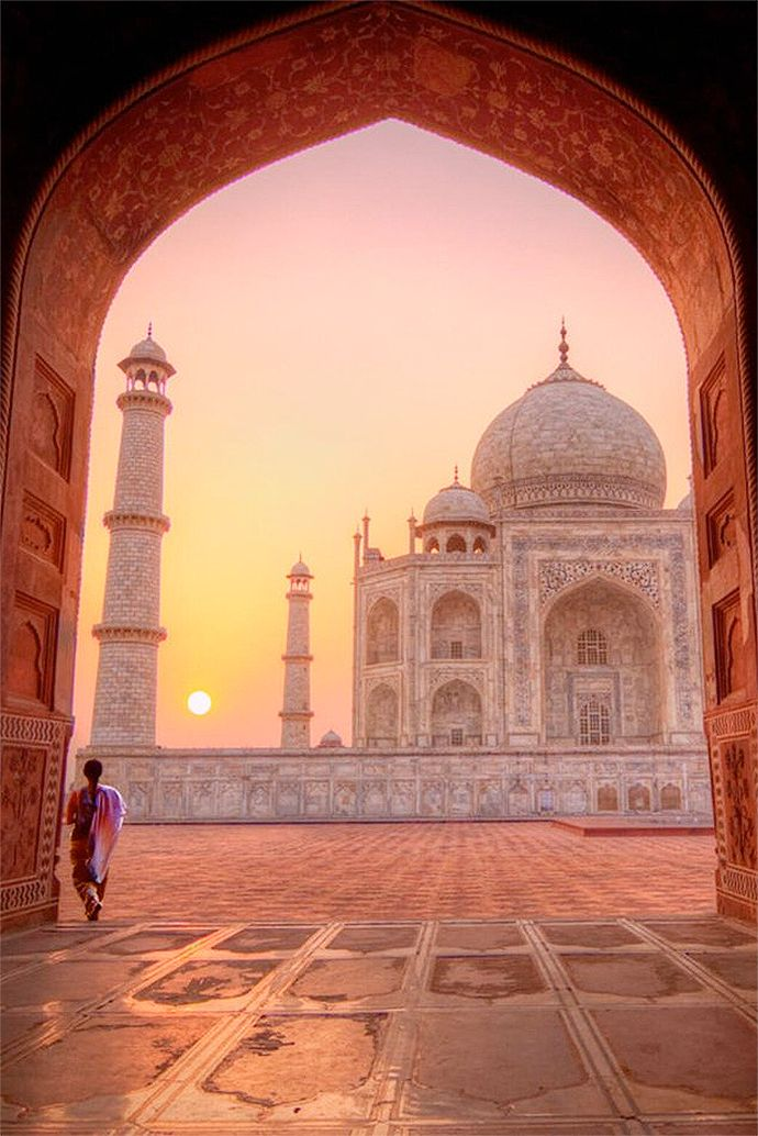 View the Taj Mahal at sunrise in India