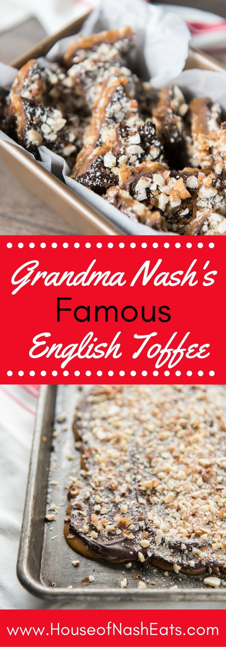 Grandma Nash's Best Butter Almond English Toffee is one to be handed down through generations. The crunchy, buttery toffee and toasted almonds with a thick layer of chocolate makes this one of our favorite candies and a Christmas tradition that we love to share with friends & neighbors!