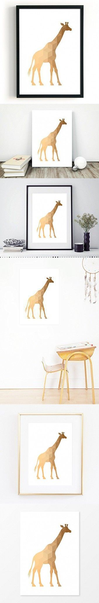 Giraffe Poster, Size 5x7, 8x10, 11x14, A5, A4 or A3, Great Geometric Baby Nursery Decor