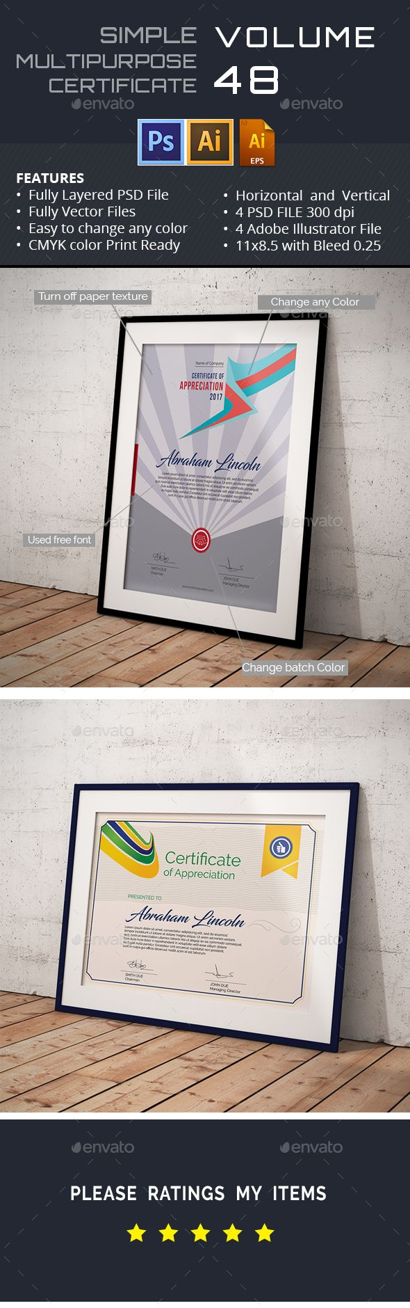 34 best certificate templates psd images on pinterest print buy multipurpose certificate by aslamhossain on graphicriver multipurpose certificate of appreciation introduction simple modern classy is a beautiful yadclub Gallery