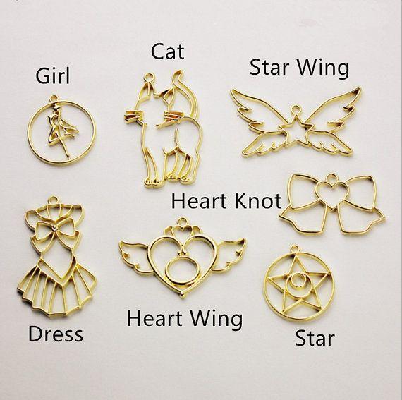 10Pcs Butterfly Moon Star Frame Pendant Open Bezel Setting UV Resin Jewelry DIY