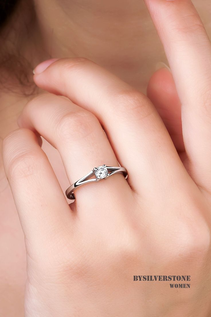 Engagement Real Diamond Ring Round Solitaire Rings 18k White Etsy Real Diamond Rings Women Rings Diamond Wedding Bands