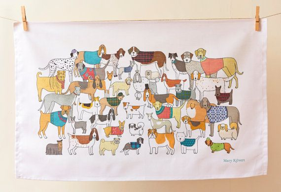 Pack Of Proud Pooches Tea Towel by MaryKilvert on Etsy