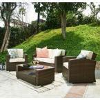 S'DENTE Bahia Dark Brown 4-Piece Wicker Patio Conversation Set with Beige Cushions