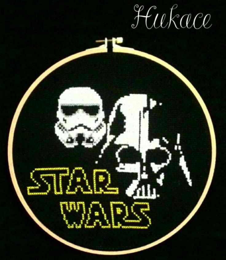 Etamin Star Wars Pano #etamin #starwars #darthvader #stormtrooper #crossstitch #crossstitching #hukace