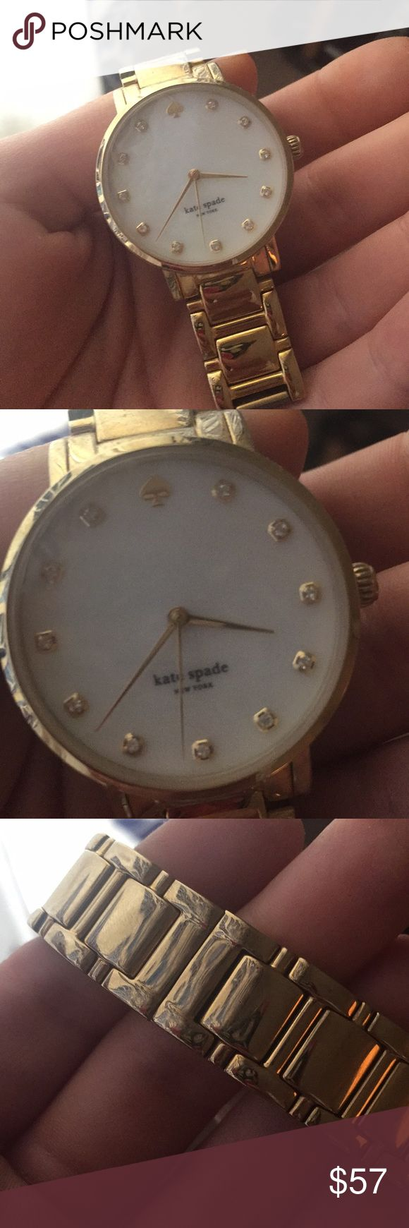 Kate Spade Gold Watch Gold watch by Kate spade with tiny fake diamonds on the numbers. Engraved in the back. Needs a battery kate spade Accessories Watches