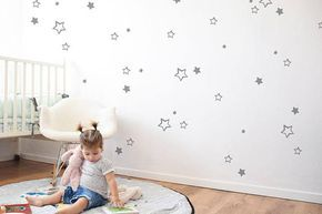 Wall Stickers stars to upgrade your kids room decor! stars stickers in black or gray, Combine the wall decals with wall paint to achieve a modern and amazing room design. *our decals are created from our unique, original designs. *The stickers eco-friendly PVC coating*