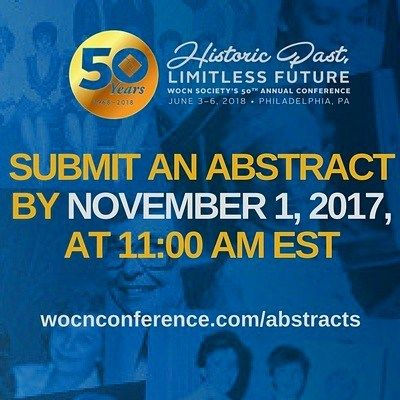 Contribute to the historic legacy of the WOC nursing speciality! Submit an abstract on a research study case study or practice innovation in wound ostomy or continence areas to present in Philadelphia. Accepted abstracts will also be published in a supplement of the JWOCN. . . . #abstract #poster #eposter #research #presentation #nursing #woundcare #ostomycare #continencecare #innovation #strategy #program #results #outcomes #patientcare #wocnurse #jwocn #journal #WOCN50 #Philadelphia