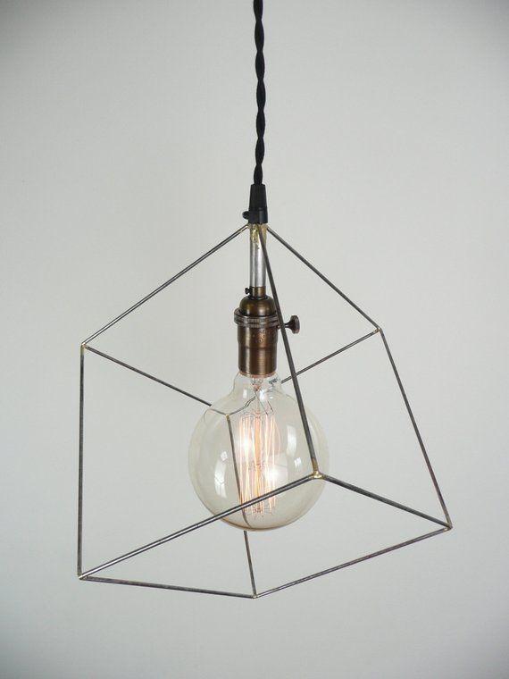 Cube Pendant Light Minimal Pendant Light Hanging Square Light