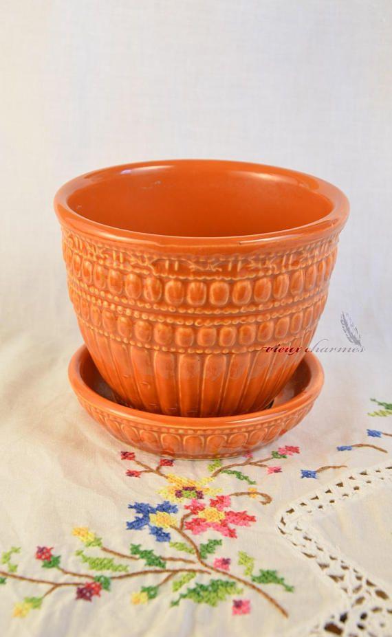 McCoy planter vintage flower pot orange McCoy planter