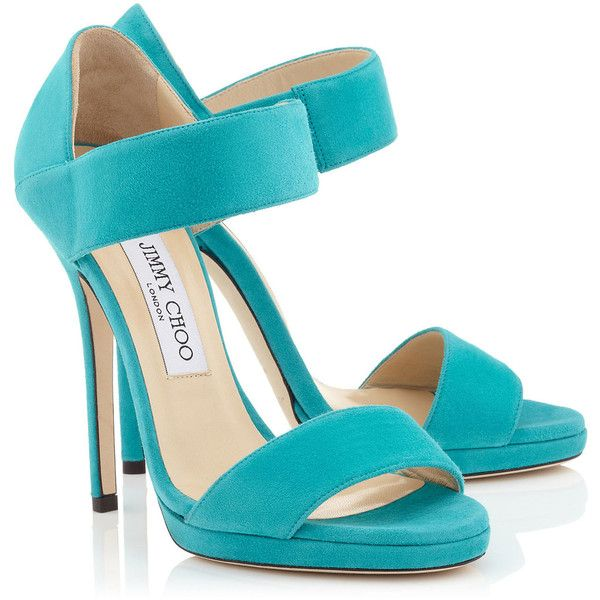 Turquoise Suede Sandals ($375) ❤ liked on Polyvore featuring shoes, sandals, turquoise blue shoes, suede sandals, turquoise sandals, suede leather shoes and suede shoes