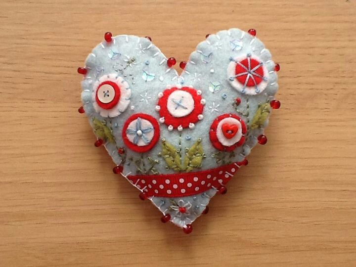 Handmade felt Summer Garden brooch, with embroidery, sequins and button embellishments.