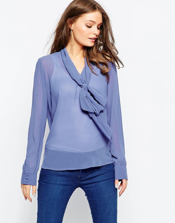 Glamorous Blouse with Skinny Scarf Tie Neck