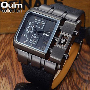 oulm® herenmode zwart geval militaire horloge vierkante wijzerplaat lederen band - EUR € 14.69