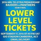 #Ticket  NRL FINALS CANBERRA RAIDERS v PENRITH PANTHERS LOWER LEVEL TICKETS SAT SEP 17 #Australia