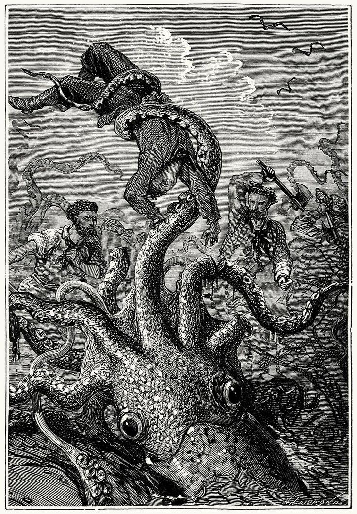 From Vingt mille lieues sous les mers (Twenty thousand leagues under the seas), by Jules Verne, illustrated by Édouard Riou and Alphonse de Neuville, Paris, 1871.