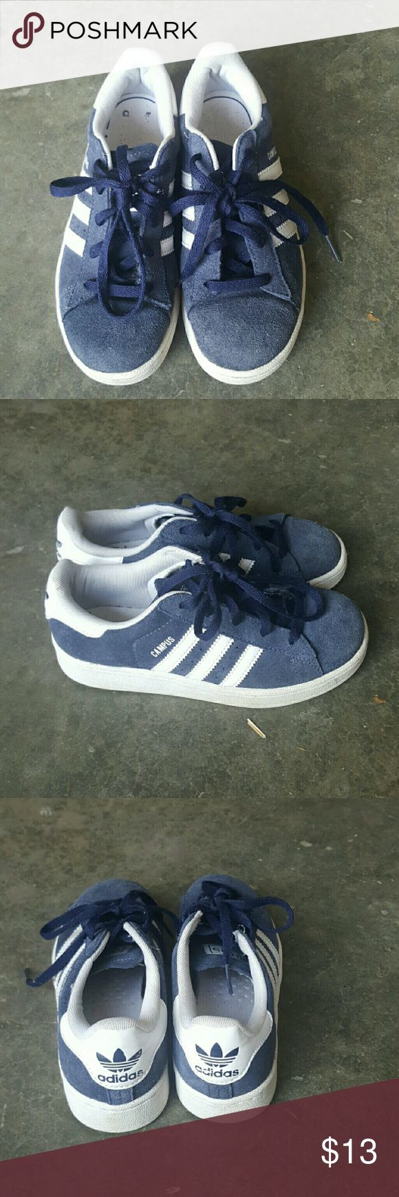 Adidad Boys Youth Campus Sneakers Sizw 1 EUC Boys Adidas Campus Sneakers. NAVY ASUEDE WITH minimal wear. Adidas Shoes Sneakers
