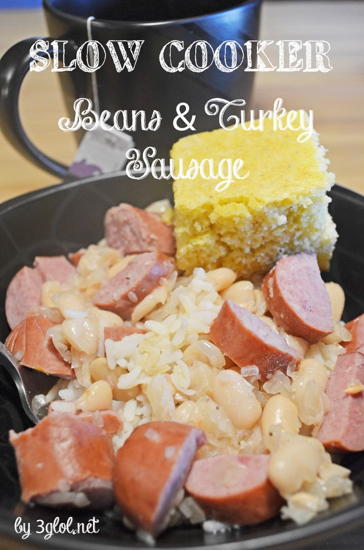 SLOW COOKER Beans and Turkey Sausage.  Great northern beans with added turkey sausage for a delicious combination. #slowcookermeal #beans #itswhatsfordinner www.3glol.net