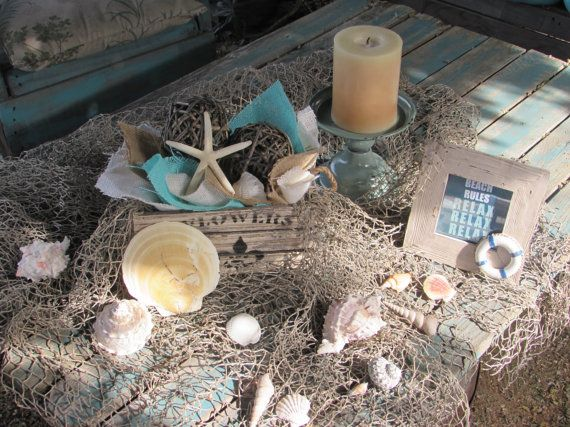 Summer Centerpiece- Beach Centerpiece- Shell Centerpiece- Candle Frame Centerpiece