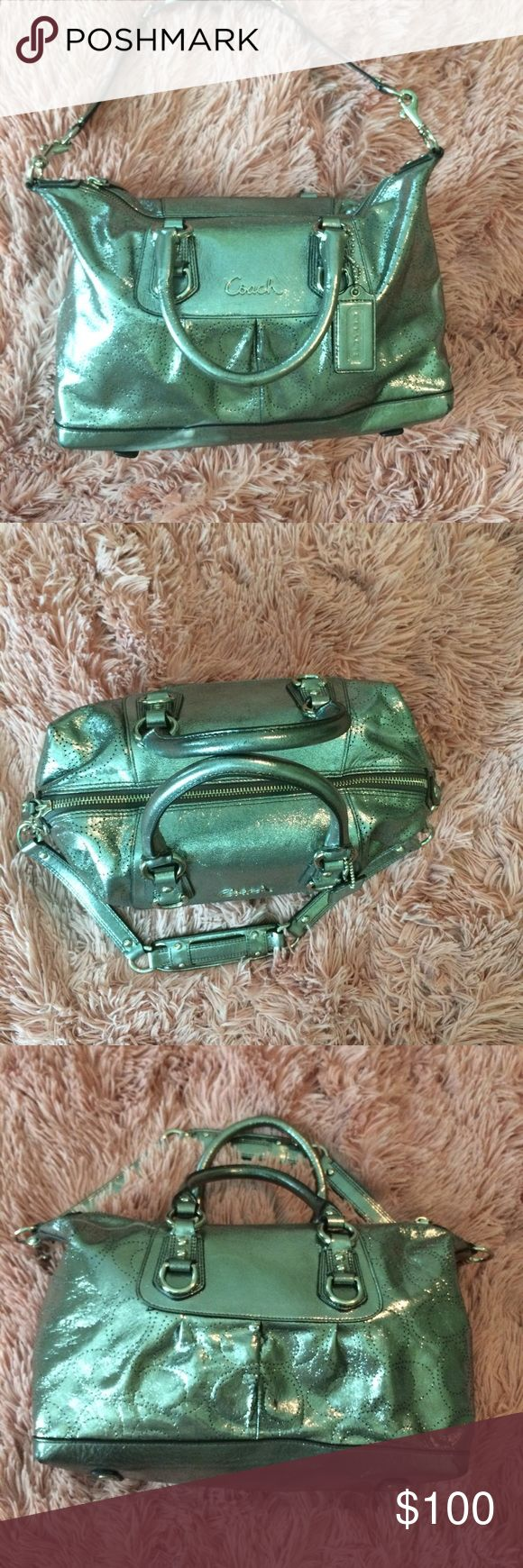 Make an offer!! Hello! Looking to sell my coach shoulder bag, it has minor damage to the bottom and the back of the bag as shown in the unedited photos. The lining is in like new condition also shown in the photos. I am open to taking offers, no trading! Coach Bags Shoulder Bags