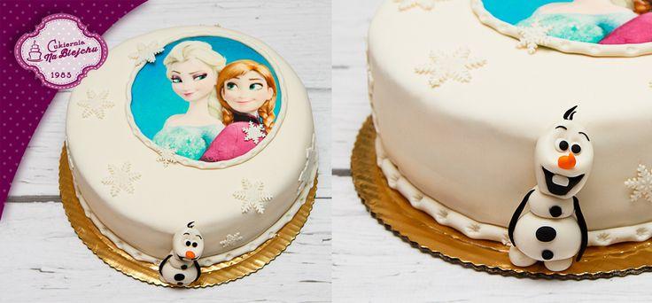 Frozen Cake, tort frozen, tort Elza, bałwanek Olaf, tort z płatkami śniegu, bajkowy tort, tort wykonany na podstawie bajki