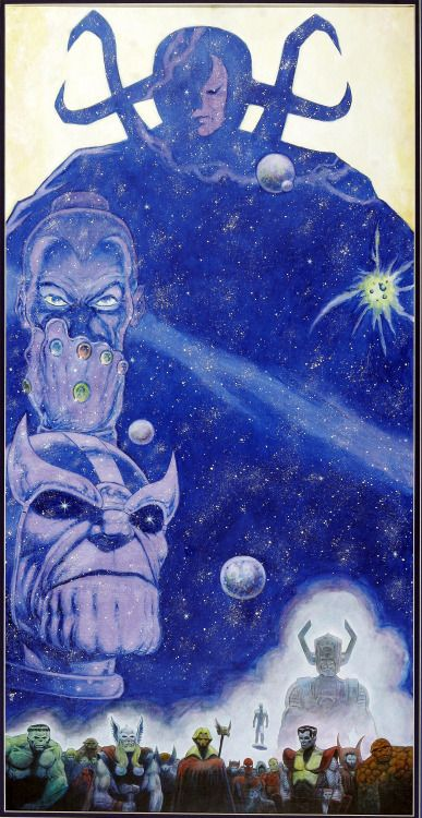 Original inked and final painted artwork by Jim Starlin from The Infinity Gauntlet promotional poster, published by Marvel Comics, 1991