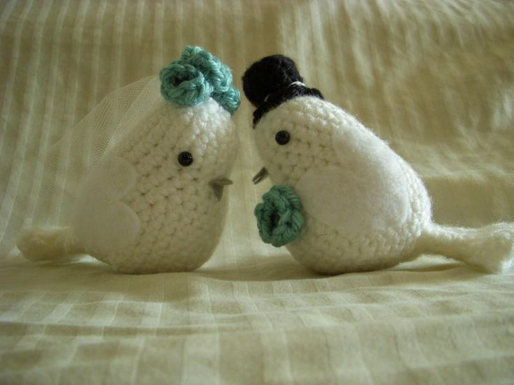Bride and Groom Love Birds KNIT OR CROCHET BIRDS Pinterest