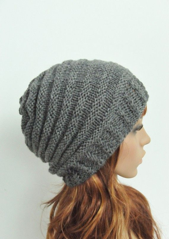 Hand knit hat Charcoal Cable hat Knit Wool Hat by MaxMelody