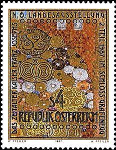 Adele Bloch-Bauer I (detail), by Gustav Klimt, stamp issued by Austria, 1987