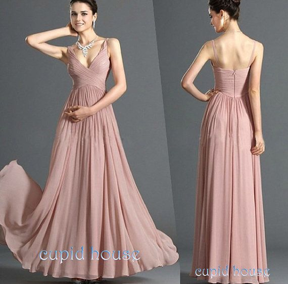 Long Champagne Straps Evening Dress,A-line Sweetheart Floor-length Chiffon Prom Dress 2014 on Etsy, $79.00